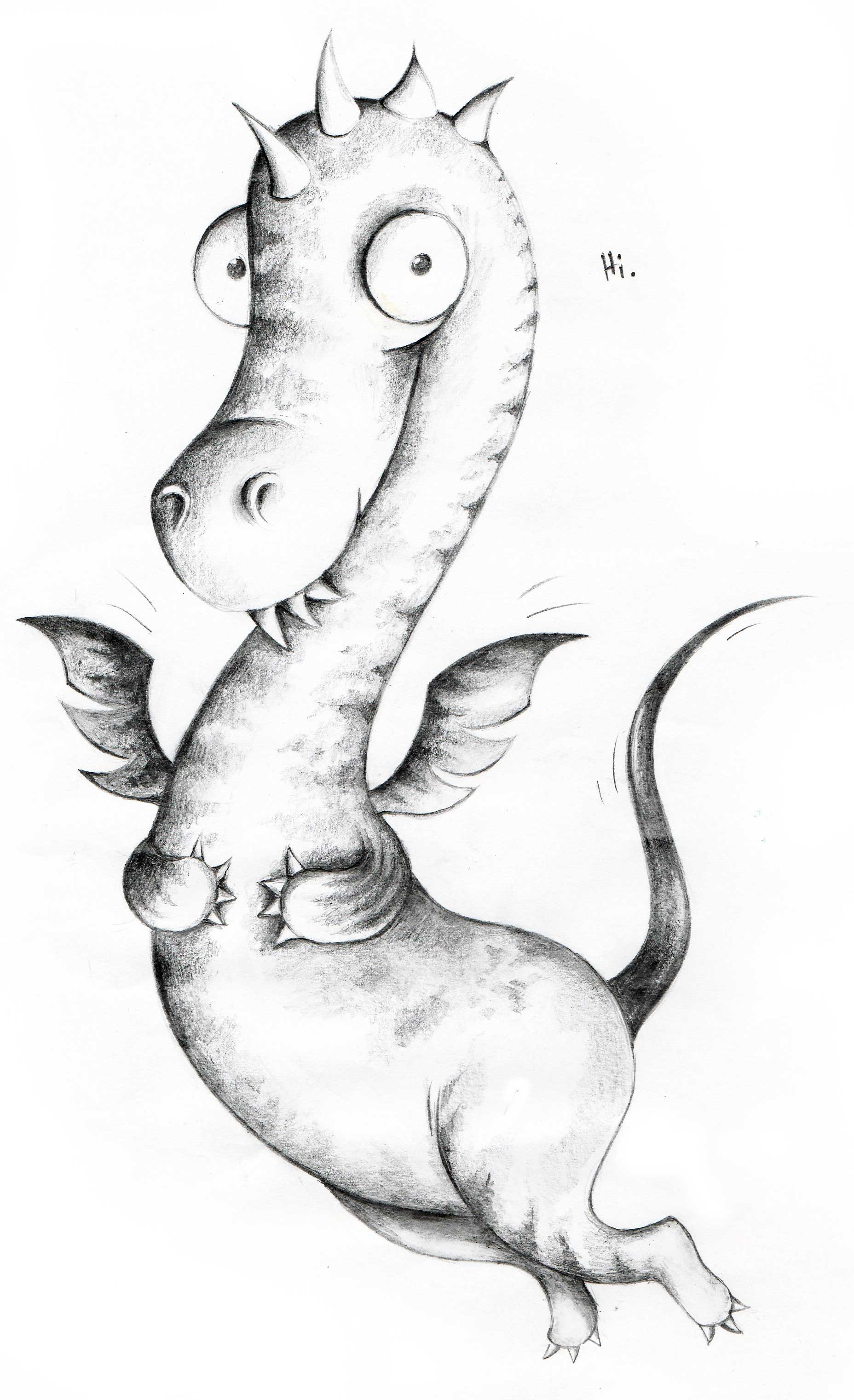 Bleistiftzeichnung kleiner Drache